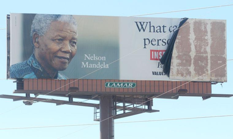 Wind-damaged billboard