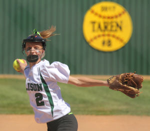 <p>Ellison's Madison Livers throws a pitch against Copperas Cove on Tuesday at Ellison High School.</p>