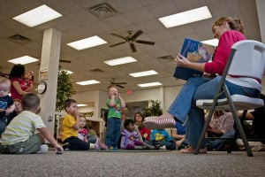 USO story time for 1st Cavalry kids on Fort Hood