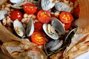 Healthy Food: Baked Clams with Rosemary, White Beans and Tomatoes