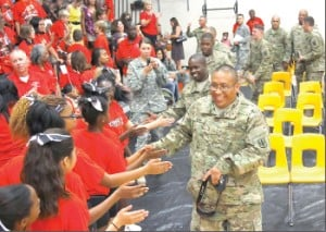 Students give proper send-off to deploying troops