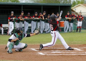 Harker Heights Vs. Shoemaker Preview: Harker Heights' Daniel Cole bats against Ellison on Friday at Ellison. The Knights host Shoemaker tonight. - Jen Morgan | Herald