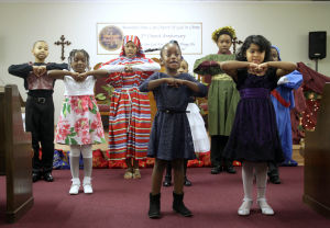 Church Play/toy Giveaway: Children from the Bountiful New Life Church of God in Christ present