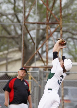 Harker Heights At Ellison Baseball: Ellison's Sam Weston grabs a pop fly on Friday at Ellison. - Jen Morgan | Herald