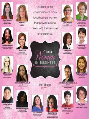 The Killeen Daily Herald's Women in Business publication. A salute to the contributions of many local business women that provide Central Texas with their services and expertise.
