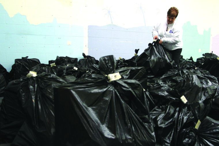 Blue Santa: Volunteers busy giving out donated items