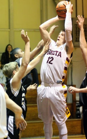 Lometa Vs Evant Boys Basketball: Lometa's Kyle Molter shoots against Evant on Tuesday in Lometa. - Herald/CATRINA RAWSON