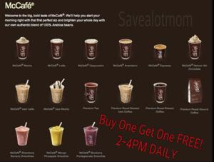 McDonald's Buy One Get One FREE McCafes!