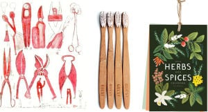 GIFTS-HOME: Hostess gifts and stocking stuffers, left to right: Tea towel with an illustration of tools by artist Louise Bourgeois; sustainable bamboo toothbrushes; the stylish Herbs and Spices calendar from Florida-based Rifle Paper. Illustrates GIFTS-HOME (category l), by Lindsey M. Roberts, special to The Washington Post. Moved Wednesday, November 27, 2013. (MUST CREDIT: Moca Store; Izola; Rifle Paper.) - HANDOUTS