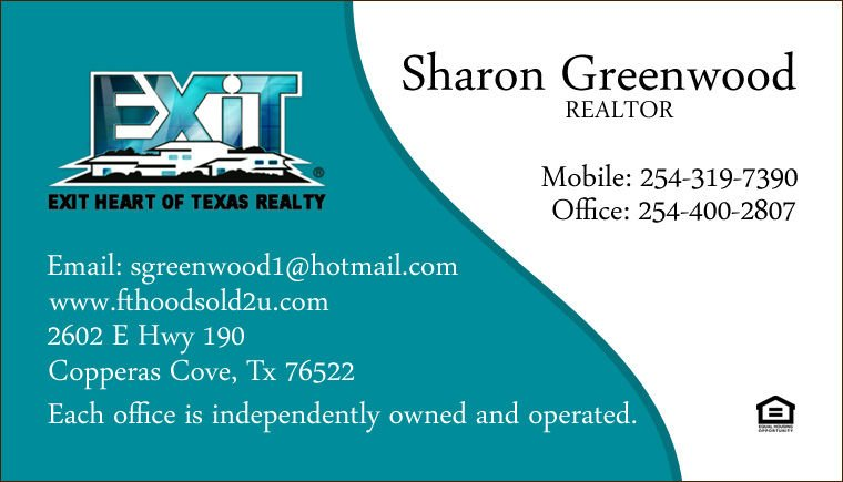 Sharon Greenwood 254-319-7390 Copperas Cove, Tx Exit Realty