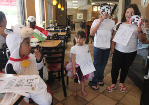 Patrons dress up for free Chick-fil-A