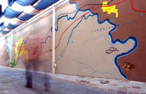 "Lampasas Murals: ""Water is Life"", created by volunteers in October 2010, was dedicated to preserve the health and beauty of Sulphur Creek. The main riverbed is carved into the stucco wall adding a dimension to the surface. - Jaime Villanueva 