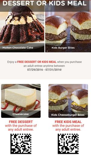 Chilis FREE Dessert or Kid's Meal!