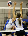 <p>Lampasas junior Kara Gillis hits against Lago Vista senior Liana Polikaitis during Game 2 of their match Tuesday in Lampasas.</p>