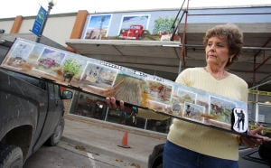 Lampasas Murals: Sharon Pinkney works on the mural