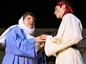 "<p>Sharon Sapp, left, and Jackson Davis sing about Jesus in a one-act musical drama ""Bow the Knee,"" which opens today at Belton Nazarene Church.</p>"