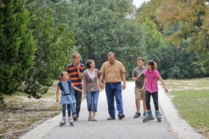 Woods Family: The Woods family walks along a path in Copperas Cove during their father, Bryan's, two-week leave from deployment.
