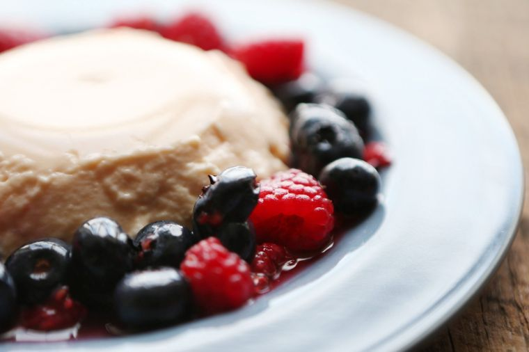 Cantaloupe Panna Cotta with Mixed Berries
