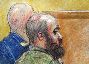 <p>An artist rendering by Brigitte Woosley shows accused Fort Hood shooter Maj. Nidal Hasan along with a member of his defense team and during a pretrial hearing for Hasan on Tuesday, July 9, 2013, at Fort Hood's Lawrence H. Williams Judicial Center.</p>