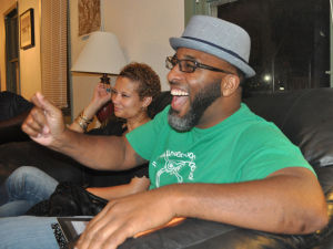 Under The Hood: Christopher Michael and April Arrington enjoy a laugh at Under the Hood Cafe. - Bryan Correira | Herald