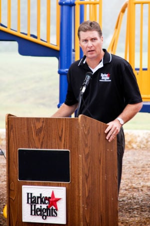 Goode-Connell Park: Harker Heights Parks and Recreation Director Jerry Bark speaks at the grand opening of the Goode-Connell Park on Monday, Oct. 28, 2013. - Photo by Jodi Perry | Herald