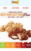 Sonic Buy One Get One FREE Wings TODAY!