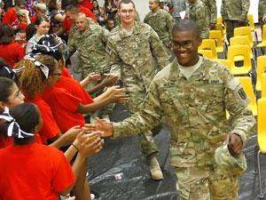 Manor students send off soldiers