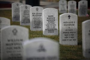 Death Rate Unusually High For Young Veterans: The grave of Mark Tyree, who died after being electrocuted following a single-car accident in the months following his exit from the Marine Corps, can be seen Nov. 27, 2013, in Igo, Calif. (Rick Loomis/Los Angeles Times/MCT) - Rick Loomis