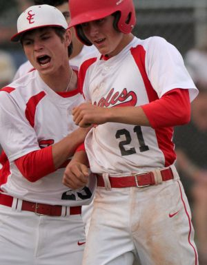 Salado Vs Academy Baseball: Salado's Caden Eary celebrates with teammates after scoring against Little River-Academy on Tuesday at Salado. The second-ranked Eagles defeated Academy 7-3.  - Herald/CATRINA RAWSON