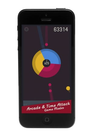 Gyro App: The Gyro app is a deceptively difficult game that puts players in charge of a spinning wheel with red, yellow and blue sections under barrage from a never-ending stream of smaller primary-colored balls. - Courtesy photo