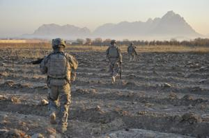 Sweeping a field in Afghanistan