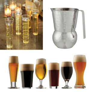 GIFTS-HOME: Top left, dainty dot-, swirl- and stripe-studded champagne flutes; top right, the hammered alumninum Como pitcher from designer Paola Navone; bottom, the LIbbey Craft Brew set of beer tasting glasses. Illustrates GIFTS-HOME (category l), by Lindsey M. Roberts, special to The Washington Post. Moved Wednesday, November 27, 2013. (MUST CREDIT: Olive & Cocoa; Crate & Barrel; Target.) - HANDOUTS