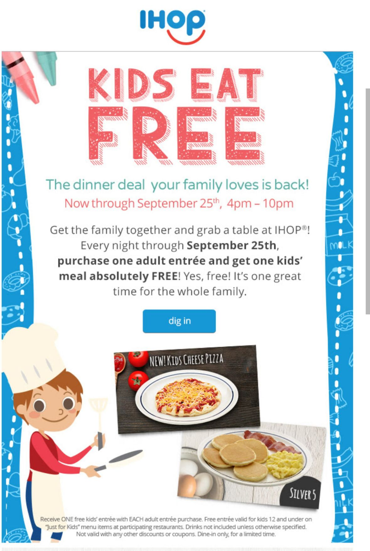 Free kid 39 s meal at ihop savealotmom for Garage appeal coupon code