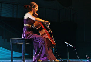 Miss MHB: Fourth runner-up Kelsey Kunk performs an unaccompanied cello solo onstage at Walton Chapel in the Miss MHB Pageant on Nov. 5 in Belton. - Steve Pettit | Herald