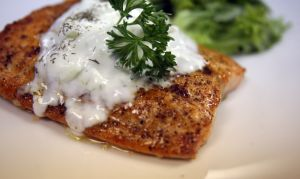 Holiday Meals: Broiled salmon with yogurt sauce makes for a healthy holiday meal. - REGINA H. BOONE | Detroit Free Press