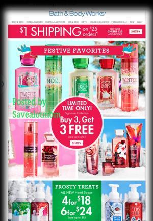 Bath & Body Works! Buy 3, Get 3 FREE! $1 Shipping!
