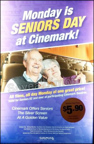 Every Monday is Seniors Day at Cinemark!
