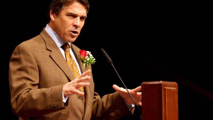 Gov. Rick Perry speaks during a community prayer service