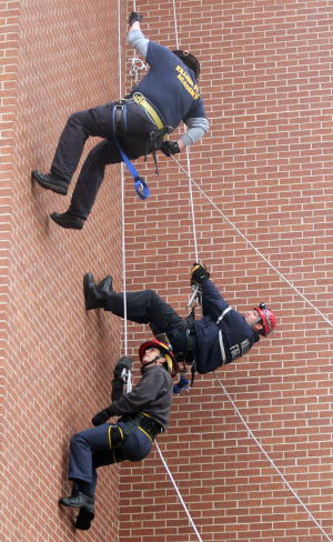 Firefighters Rappelling