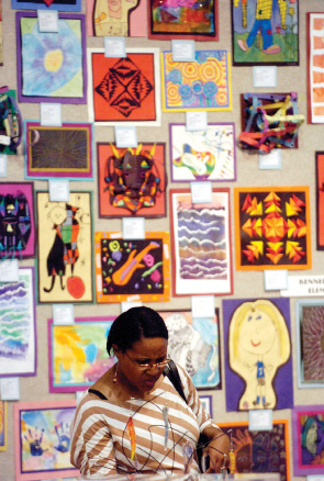 Children's artwork on display in Temple