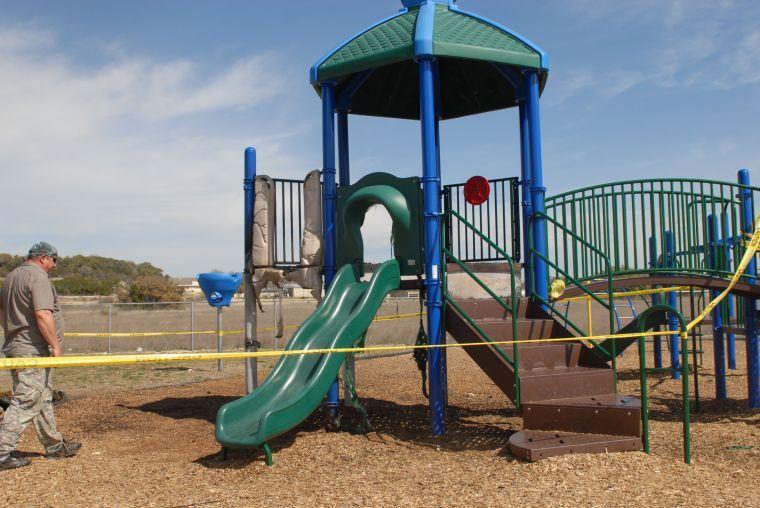 School playground damaged by fire