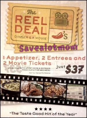 Go out on a date for less than $40! Appetizers, Two Meals and Two Movie Tickets!