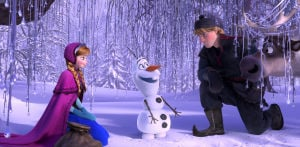 "<p>From left, Anna, voiced by Kristen Bell, Olaf, voiced by Josh Gad, and Kristoff, voiced by Jonathan Groff in a scene from the animated feature ""Frozen.""</p>"