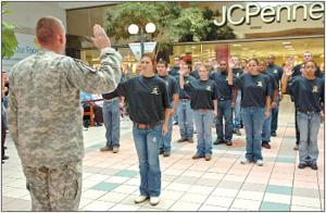 Future soldiers enlist at Temple Mall ceremony