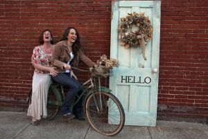 Front Door Decorations: Decorators Pamela Andrella, left, and her daughter, Arica Neill, of Alter'd Relics in Barberton, Ohio, say front doors can get a fun spring makeover. - Michael Chritton | Akron Beacon Journal