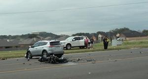 Motorcycle hit by SUV on Stan Schlueter Loop