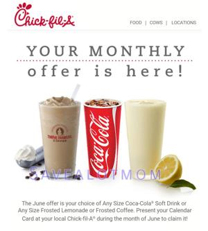 Chick fil A FREEBIE for June!!! LAST DAY to use it!