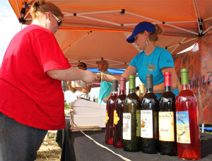 Walker Honey Farm: From left, Melissa Schneider of Rogers gets help from Dancing Bee Winery employee Salee Lanig of Academy during Walker Honey Farm's Fall Farmers Market on Saturday in Rogers. - Photo by Steve Pettit | Herald
