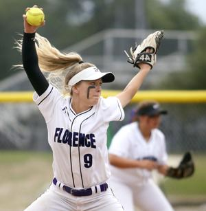 <p>Florence's Mackenzie Futrell (9) throws a pitch during their playoff game against San Antonio Cole on April 28 at Marble Falls High School.</p>