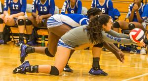<p>Copperas Cove's Madison Wasiak (24) digs and keeps the play alive against Shoemaker on Tuesday at Shoemaker.</p>